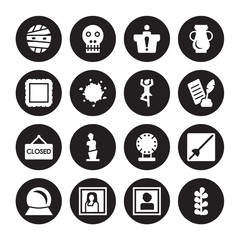 16 vector icon set : Mummy, Portrait, Gioconda, Souvenir, museum Fencing, Botanical, Frame, Closed, Ballet isolated on black background