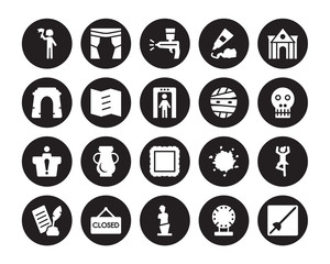 20 vector icon set : Excursion, Porcelain, Venus de milo, Closed, Poetry, Museum building, Mummy, Frame, Information desk, Trifold, Airbrush isolated on black background