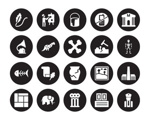 20 vector icon set : Quill, Archivist, Ancient, Mammoth, Mondrian, Museum, Geological, Ancient jar, Fishbone, Dinosaur, Paint isolated on black background