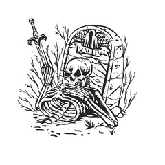 Skeleton warrior in the tomb black and white