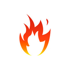 Flame fire icon with white center. Vector illustration.