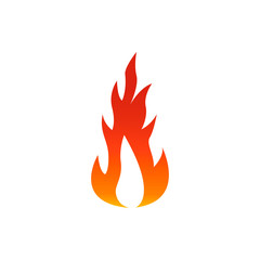 Flame fire icon with white center. Vector illustration on white background.