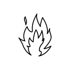 Flame fire symbol. Thin line Vector illustration.