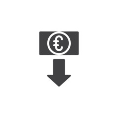 Euro exchange rate vector icon. filled flat sign for mobile concept and web design. Euro money with down arrow simple solid icon. Symbol, logo illustration. Pixel perfect vector graphics