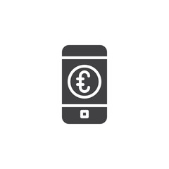 Euro mobile banking vector icon. filled flat sign for mobile concept and web design. Phone with euro coin on screen simple solid icon. Symbol, logo illustration. Pixel perfect vector graphics