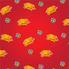 pig 2019 seamless pattern red background
