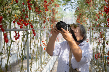 old woman taking photo in gardening.
