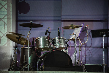 drums on the stage at the party
