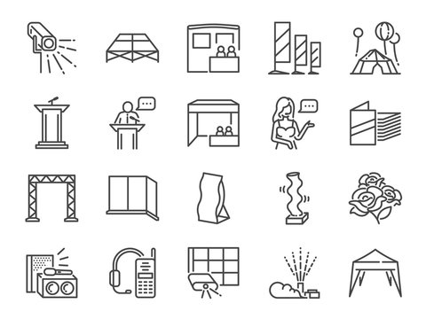 Special event line icon set. Included the icons as expo, festival, equipment, special effect, booth and more.