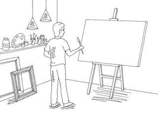 Boy painting a picture art workshop graphic black white interior sketch illustration vector