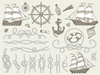 Decorative marine elements. Sea rope frames, sailing boat or nautic ship steering wheel and nautical ropes corners vector set