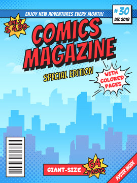 Comic book cover page. City superhero empty comics magazine covers layout, town buildings and vintage comic books vector template