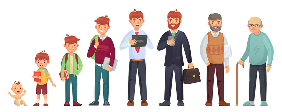 Male different age. Newborn baby, teenage boy and student ages, adult man and old senior. People generations vector illustration