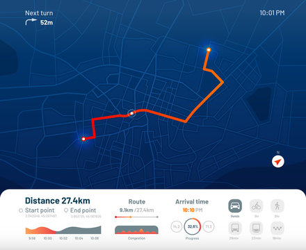 Route dashboard. City street map navigation, town running routes and gps tracking maps app flat vector illustration