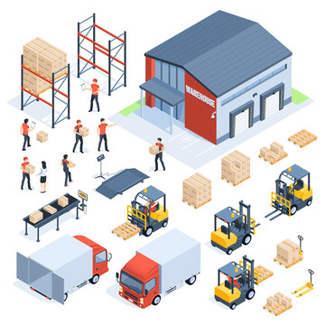 Isometric warehouse logistic. Cargo transport industry, wholesale distribution logistics and distributed pallets 3d isometric vector set