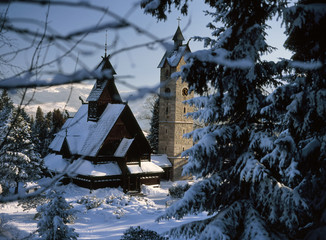 Karpacz, Karkonosze Mountains, Poland: February, 2011 - Wang Temple in Karpacz