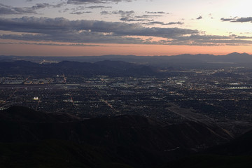 Elevated Mountain View of San Bernardino, CA at Sunset