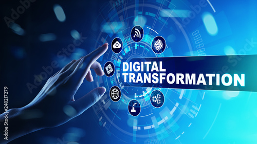 Wall mural Digital transformation, disruption, innovation. Business and  modern technology concept.