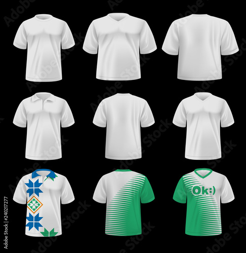 764d3c52 Template, layout men's t-shirts with the ability to edit the colors and  design. Vector, 3D rendering. EPS-10.