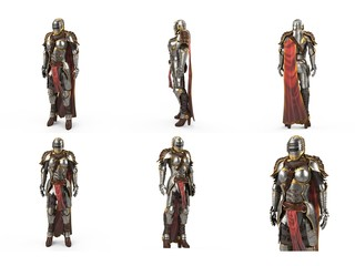medieval armor of fantasy full of women with a closed helmet and red cape. isolated white background. 3d illustration