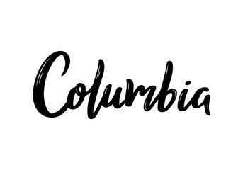 Columbia - hand drawn lettering name of country. Handwritten inscription. Vector illustration.