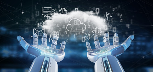 Cyborg holding a Cloud of multimedia icon 3d rendering