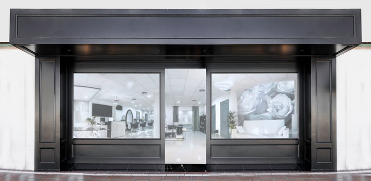 Outdoor mockup,store template,front view black of generic store facade with windows display and blanck posters.