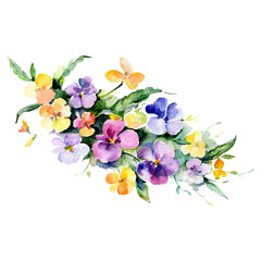 Purple and yellow floral botanical flower bouquet. Watercolor background set. Isolated bouquet illustration element.