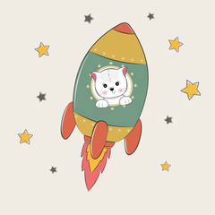 Cute funny cat astronaut flies into space.