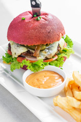 beetroot red bun cheeseburger set with fries and chilli mayo