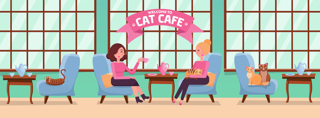 Fb Cover horizontal Web Banner Social Media Design Welcome to cat cafe Template. Interior with big windows, woman. Spending time with pet. Interior with large windows. Flat cartoon vector illustration