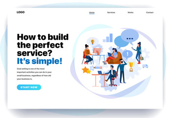 Web page design templates for management app, consulting, call center, perfect service. Modern vector illustration concepts for website and mobile website development