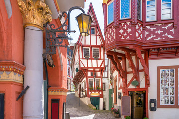 The medieval market square of Bernkastel-Kues, Germany. The twin town of Bernkastel-Kues is regarded as the most popular town and center of the Middle Moselle. Wall mural