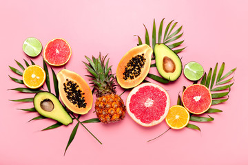 Summer tropical fruits concept
