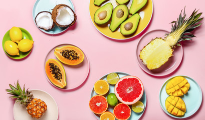 Tropical fruits minimal table setting