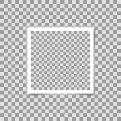 Photo frame square on transparent background. Vector template, blank for your photo or image