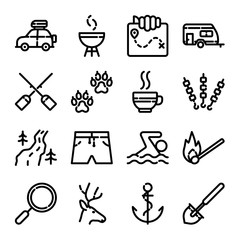 Camping & Hiking Icon Set