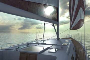 Sailing lboat at open sea towards sunset 3d illustration