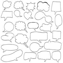 Set of cute retro hand drawn cloud, doodle vector illustration