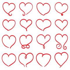 Illustration vector hand drawn flourish calligraphy vintage hearts set