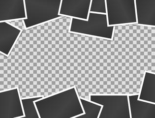 Vector illustration border of realistic vintage black photo frames on transparent background. Template for design