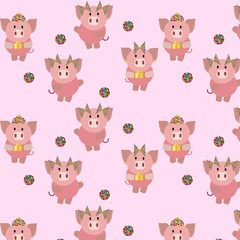 pig chinese new year seamless pattern 2
