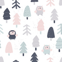 Fototapete - Seamless background with owls in forest