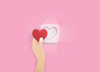 hand put red heart on electronic circit.digital craft.vector.paper art and craft style