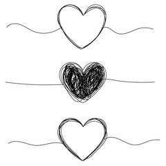 Tangled grungy heart round scribble hand drawn with thin line, divider shape.