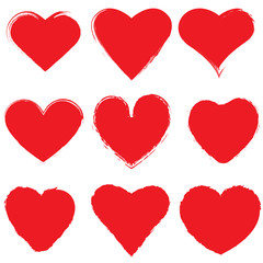 Set of red ink grunge hearts on white background vector illustration. Brush stroke of hearts