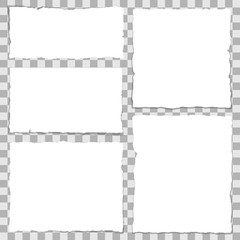 Pieces of torn white note paper with copy space