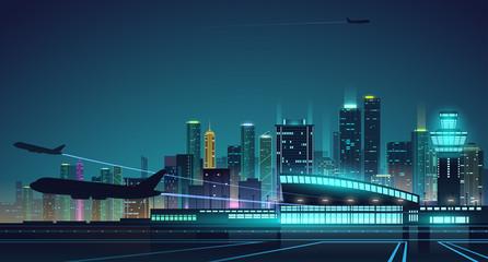 Night airport background