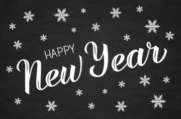 Happy New Year hand drawn calligraphy lettering surrounded by snowflakes on chalkboard. Holidays vector illustration.  Easy to edit vector template