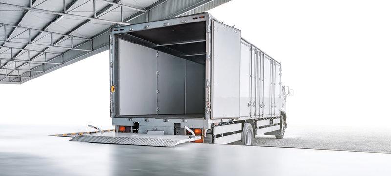 transport truck waiting for loading export merchandise